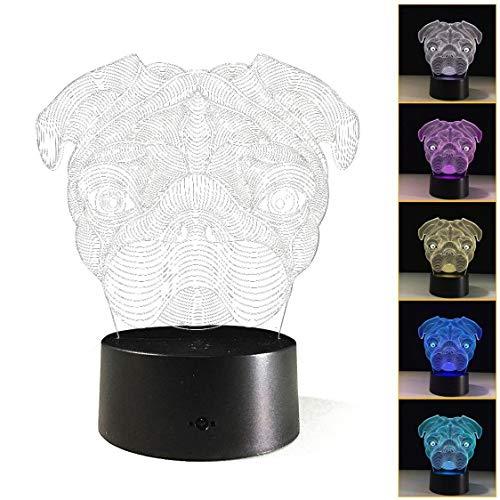 Fifet 3D Children Night Light, 3D Illusion Cute Puppy Pug Dog Night Light, Desk Table Light kids Children- 7 Color Change