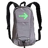 Rebuku 15L LED ライト バックパック ターン シグナル USB 充電式バッグ屋外サイクル バックパック 完全な可視性と意識の安全性バックパック背面 LED 信号の表示をバックパック(グレー)