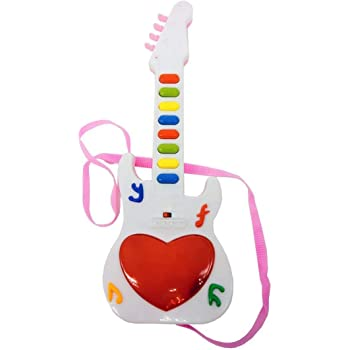 ANG® Mini Musical Guitar Instrument with Sound & 3D Lighting Learning Toy for Kids (Color May Vary) (Mini Guitar)
