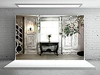 Kate 2.2x1.5m屋内シンプルな結婚式の撮影の背景白い花レトロな木製のドアの背景明るい窓洗える非反射スタジオ専用の背景