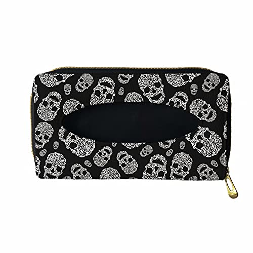 XYZCANDO Black Cool Skull Design Car Tissue Holder, Zipper Close Hanging Tissue Box for Auto, Vehicle, Sun Visor Napkin Holder, PU Leather Tissue Storage Box, Backseat Tissue Purse Case Holder