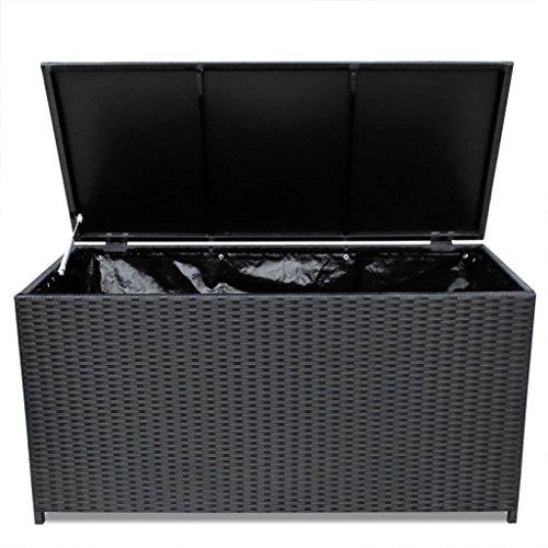Festnight Baúl Caja de Almacenamiento para Jardín Negro 150x50x60 cm