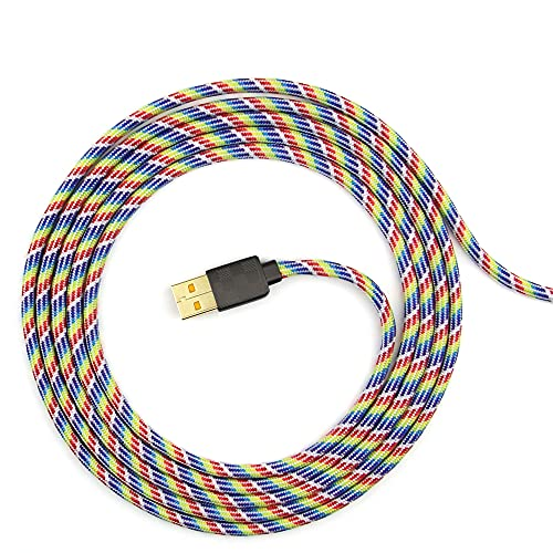 Paracord Mouse Cable for Gaming Mice - for Logitech G402 Hyperion Fury - (Rainbow 27)