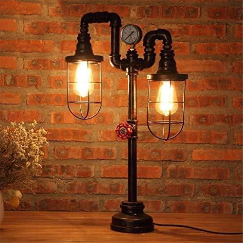 LHQ-HQ Retro personalidad industrial agua tubo lámpara de escritorio café dormitorio Edison retro luz simple romántico