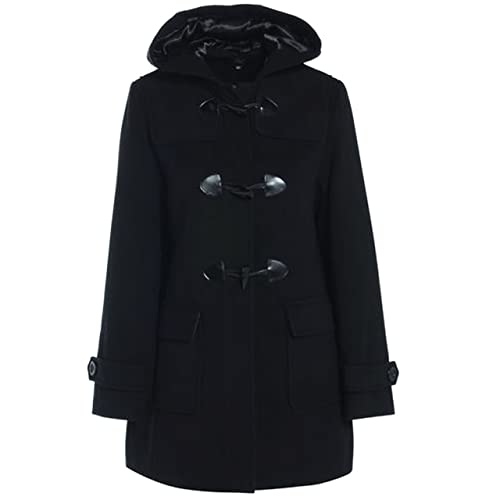 49091220acc1c MyShoeStore Ladies Womens Duffle Wool Trench Coat Winter Casual Hooded  Toggle Outerwear Vintage Jacket Plus Sizes