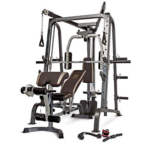 Marcy MD-9010G - Máquina de gimnasia (máquina Smith, banco de pesas extraíble, carga de 272 Kg, rodamiento lineal) ⭐
