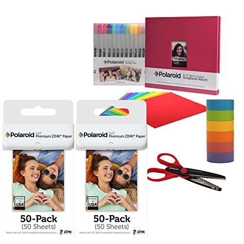Polaroid 2x3ʺ Premium ZINK Fotopapier 100er-Pack Einklebebuch-Bundle