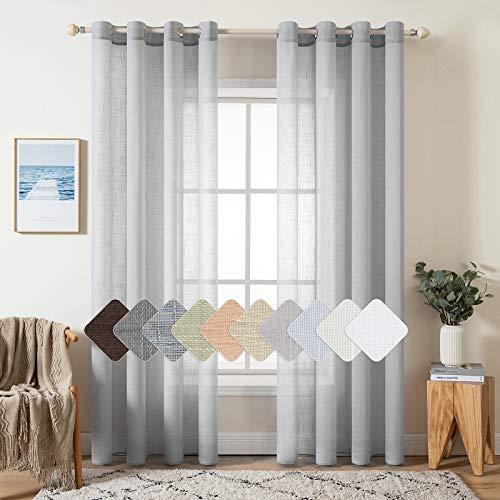 MIULEE 2 Panels Natural Linen Semi Sheer Window Curtains Elegant Solid Light Grey Drapes Grommet Top Window Voile Panels Linen Textured Panels for Bedroom Living Room (52X84 Inch)