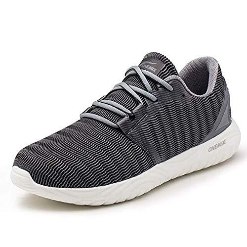 ONEMIX Zapatillas de Running para Hombre, Transpirables Aire Libre y Deporte Casual Zapatos Gimnasio Correr Sneakers 1309 Greyblack 42