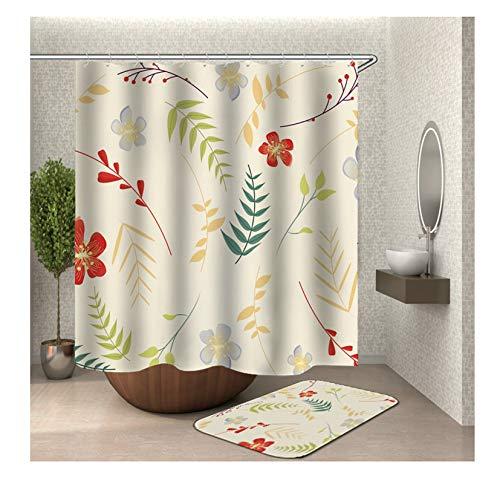 Daesar Zweig Blumen 40x60 Badezimmer Fußmatten Lustiger Duschvorhang 90x180 cm, Badematte & WC Vorleger Set