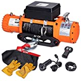 AC-DK 13000 lb. Electric Winch Kit, 12V Winch with 85ft Synthetic Rope, Waterproof IP67 Truck Winch with Hawse Fairlead, with 2 Wireless Handheld Remote and Wired Handle Recovery Winch(Up to 13500lbs)