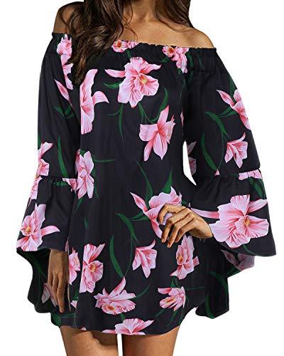 ZANZEA Damen Schulterfrei Langarm Kleid Blumen Lose Oberteil Oversize Mini Kleider 05-schwarz Large