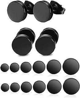 Yadoca 12 Paia 3mm- 8mm Orecchini in Acciaio Inossidabile Nero Opaco Tondo Orecchino a Bottone per Uomo Donna Unisex Orecc...