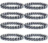 SONNYX 8PCS Black Hematite Ball Bead Magnetic Therapy Bracelet Magnet Stone Bracelet for Men Women Stress Relieving Magnet Bracelet Anxiety Relief Bangle Bracelet Elastic