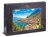 Ulmer Puzzleschmiede - Puzzle 'Lago de Garda': Puzzle de 1000 piezas - Motivo paisajístico del lago de Garda con el pueblo de Limone. Lombardía, norte de Italia