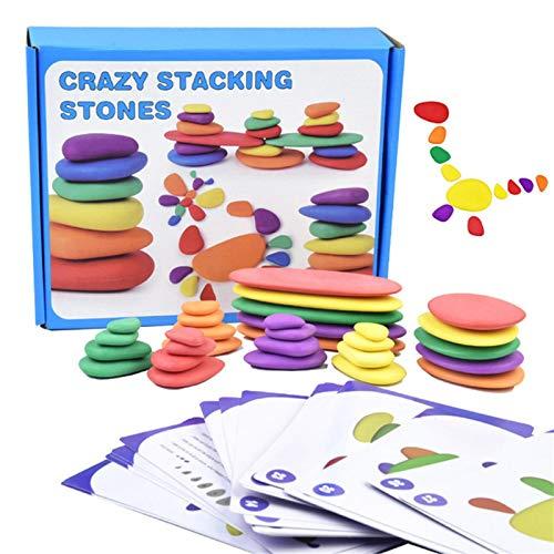 Junior Rainbow Pebbles Rainbow Pebbles de madera para apilar juguetes Juego de actividades Rainbow Pebbles con tarjetas Actividad de equilibrio y clasificación Juguetes educativos para las matemáticas