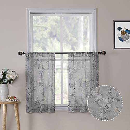 Tollpiz Floral Short Grey Sheer Tier Curtains Flower Print Vine Embroidery Kitchen Half Curtain Rod Pocket Café Voile Window Curtains for Bathroom, 30 x 24 inches Long, Set of 2 Panels