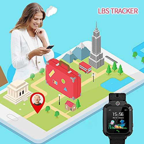 Kinder Smartwatch Telefon Uhr, Vannico Wasserdicht Kids Smart Watch für Kinder mit SOS Anruf, Geschenk für Jungen Mädchen (Schwarz)