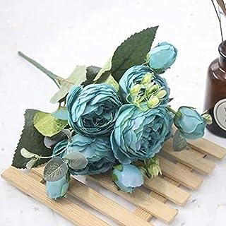 PAKUES-QO Faux Bouquet 1 Bouquet 9 Têtes Artificielle Pivoine Thé Rose Fleurs Camélia Soie Faux Fleur pour DIY Maison Jard...