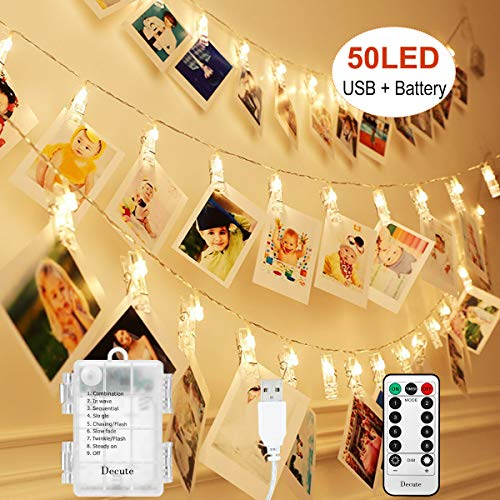 Upgraded 50LED Photo Clips String Lights/Holder USB and Battery Powered with Remote, Timer 8 Modes Waterproof Indoor Outdoor Fairy Lights for Hanging Photos Pictures Cards Memos, Warm White