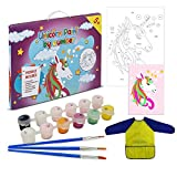 Abvak Unicorn Paint by Numbers for Kids & Beginners, DIY Child's Oil Paint Kit 16' x 12' Framed Canvas Acrylic Educational Math Gift with Bonus Art Smock