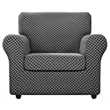 Chelzen 2 Piece Chair Covers for Living Room Modern Double-Color Chair Slipcovers with Arms Stretch Linen-Like Sofa Armchair Slipcover Dogs Pets Couch Protector (Chair, Dark Gray Checkered)