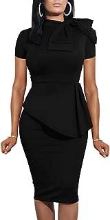 LAGSHIAN Women Fashion Peplum Bodycon Short Sleeve Bow Club Ruffle Pencil Office Party Dress