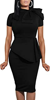 Women Fashion Peplum Bodycon Short Sleeve Bow Club Ruffle...