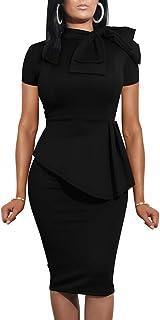 Women Fashion Peplum Bodycon Short Sleeve Bow Club Ruffle...
