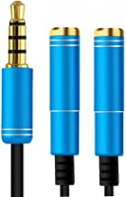 Top-Longer Headphone Audio Splitter Cable Adapter - 3.5mm Audio Stereo Y Splitter 3.5mm Male to 2 Port 3.5mm Female for Speaker Laptop Smartphone 30cm with Aluminum Connector(Blue)