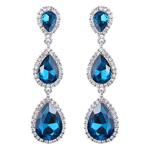 Pendientes de Mujer - Clearine Pendiente en Forma de Bolita, Estilo Precioso Cristales para Boda Novia Fiesta Azul Real Tono Plateado