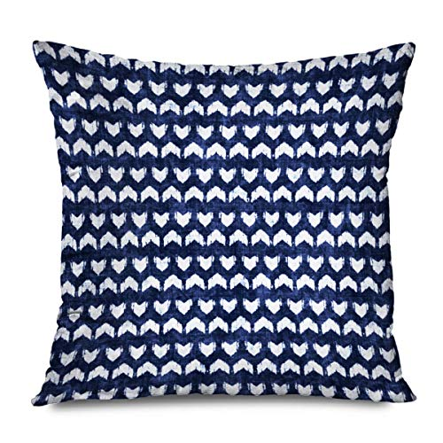 iksrgfvb Throw Pillow Cover Square 45x45CM Noisy Blue Broken Chevron Strokes Indigo Dyed Effect Abstract Navy Brushed Damage