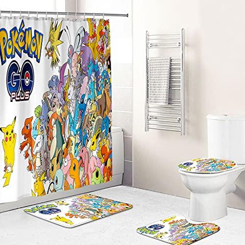 Duschvorhang 3D Pokémon Pikachu Anti Bakteriell Anti-Schimmel Wasserdichter Duschvorhang,180x200cm Badezimmerteppich 4-teiliges Set Waschbar mit 12 Duschvorhängeringen