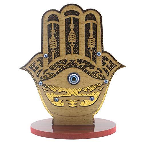 jmk Colgante de madera Eid Mubarak, adorno de madera con forma de mano de Eid Al-Fitr, adorno islámico de Ramadán (JM01833)