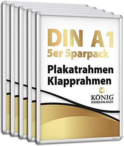 5 Plakatrahmen DIN A1 | abgerundete Ecken | 25mm Alu Profil, Silber | inkl. entspiegelter Schutzscheibe und Befestigungsmaterial | Alu Klapprahmen Wechselrahmen Posterrahmen | 5er Sparpack | Dreifke®