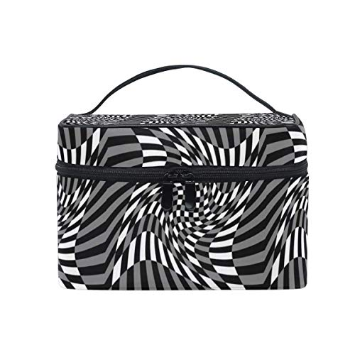 Vanity et Trousses à Maquillage Travel Makeup Cosmetic Bags Funny Distortion Geometric Decor Pattern Toiletry Bags Makeup Suitcase