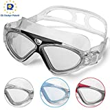 Swimming Goggles,Adult Swim Goggles Anti Fog No Leakage Clear Vision UV Protection Anti Slip Easy to Adjust Comfortable Silicone Skirt,Professional Swim Goggles for Men and Women (Black/Clear lens)