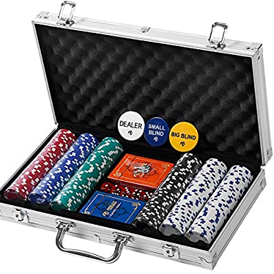 Professional 300 Chips (11.5g) Poker Set with Case by Rally & Roar - Complete Poker Playing Game Sets with Casino Style Chips, Cards, Dice, Aluminum Color Case & Keys