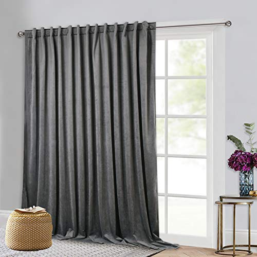 StangH Extra Wide Velvet Curtains - Super Soft Grey Velvet Curtain Large Window Decorating Blackout Panels for Living Room/Bedroom/Patio Sliding Glass Door, 100-inch Wide x 84-inch Long, 1 Pc