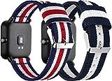 Correas para Relojes Nylon Compatible con Amazfit Pace/Stratos/Stratos +, Correa de Reloj de NATO para Mujer y Hombre con Hebilla de Acero Inoxidable (22mm, 2PCS E)