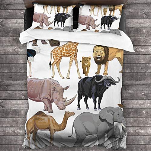 LINARUBE 3 Teilig Bettwäsche Set,Safari Wildtiere vom afrikanischen Kontinent Kamel Strauß Löwe Giraffe- inkl.1 Bettbezug und 2 Kopfkissenbezüge(König 220x230cm)