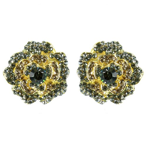 Gris en chapado en oro Vintage Movie Star Flower pendientes