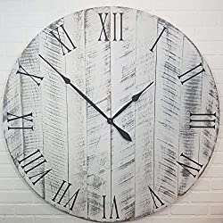 Large Wood Wall Clock – 42 Inch Diameter – White with black undertones - Battery Operated