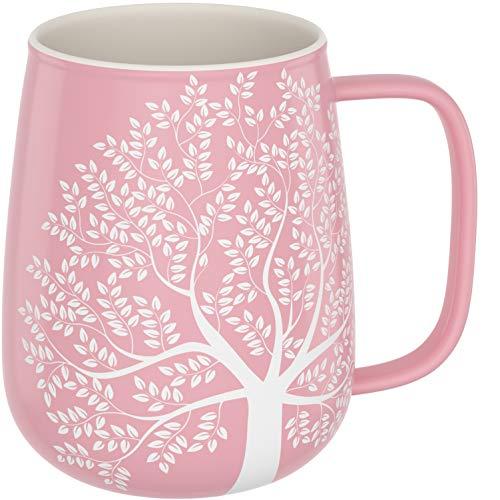 Amapodo, tazza da caffè grande, in porcellana, con manico, 600 ml, XXL, tazza da caffè in ceramica rosa, regalo per donne e uomini