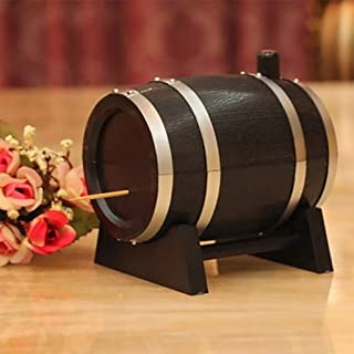 ❤Ywoow❤ Toothpick Cover, Toothpick Box Container Dispenser Holder Wine Barrel Automatic Plastic
