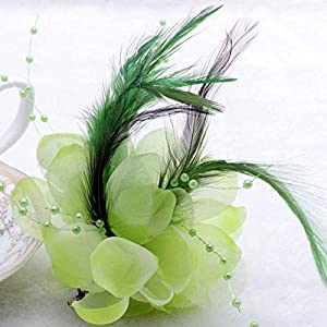 Artificial and Dried Flower 12cm Sky Blue Feather Hairpin Cosmos Flower Headdress Wedding Party Prom Corsage Pearl Lotus Hair Clips Hair Accessories