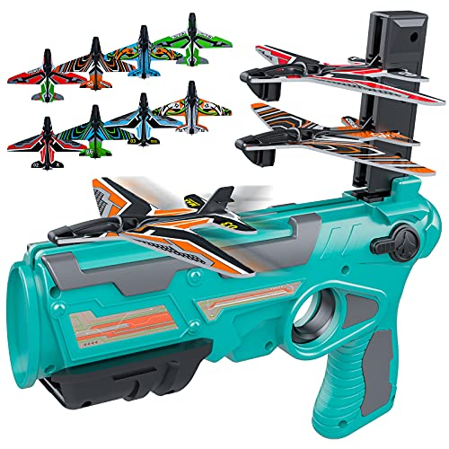 Airplane Toys for 4 5 6 Years Old Boys  Outdoor Toys for Kids Ages 4-8  Catapult Airplane with 8 pcs Glider Plane Boys Toys Age 6-8 with One-Click Ejection Airplane Game  Gifts for 4-8 Years old Boys