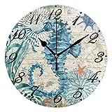 Pfrewn Wall Clock Vintage Seahorse Seashell Starfish Clock Silent Non Ticking Round Wall Clocks Battery Operated Decor, Beach Clocks 10 Inch Quartz Analog Quiet Desk Clock Bedroom Living Room for Kids