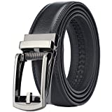 Men's Comfort Genuine Leather Ratchet Dress Belt with Automatic Click Buckle (Suit Pant Size 28'-44', Style 23 -Black)
