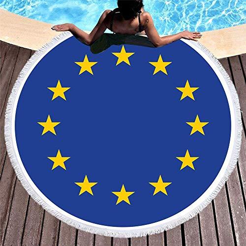 XZ-Sky Runde Strandtuchdecke, großer Wandteppich mit EU-Flaggendruck, Lagermatte für Erwachsene Frauen Männer Kinder Kinder Jungen Mädchen